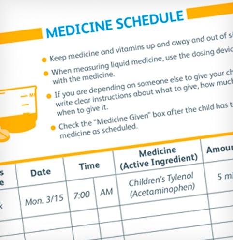 Lleva un registro de las dosis de medicamentos para niños